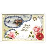 Vintage Postcard Good Wishes Embossed Roses Horseshoe Lake Scene Forget ... - $4.99