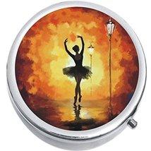 Ballerina Silhouette Medicine Vitamin Compact Pill Box - $9.78