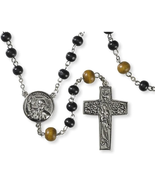 WOODEN PRAYER BEADS ROSARY WITH POPE FRANCIS CENTER AND GOOD SHEPHERD CR... - $21.72