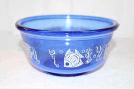 "Angel Fish Hazel Atlas Ice Bowl Cobalt Blue 6"" Sportsman Sea Life  Excel... - $70.13"