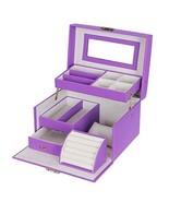 Locking Purple Girls Mirrored Jewelry Box Storage Organizer Case w Handl... - €36,44 EUR