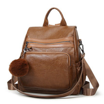 Female Backpack Genuine Leather Women Shoulder Bag Natural Cowhide Trave... - $48.10 CAD+
