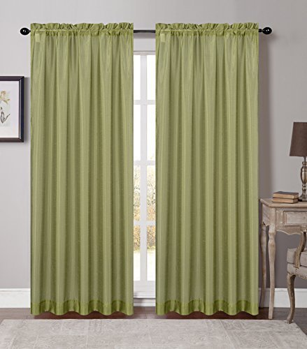 Urbanest 54-inch by 84-inch Set of 2 Soho Sheer Drapery Curtain Panel, Green