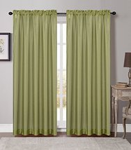 Urbanest 54-inch by 84-inch Set of 2 Soho Sheer Drapery Curtain Panel, Green image 1