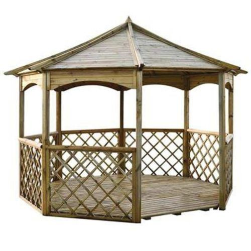 Wooden garden gazebo large pergola octagonal out door for Outdoor furniture gazebo
