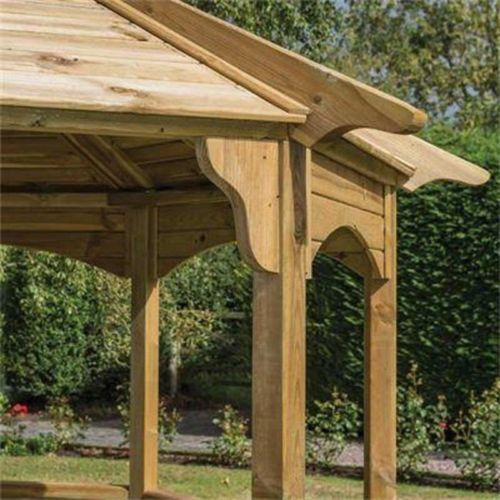 Wooden garden gazebo large pergola octagonal out door for Large wooden gazebos