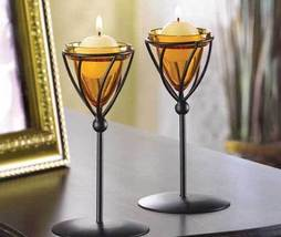 Amber Candleholders Metal W Glass Set Of Two - $12.95