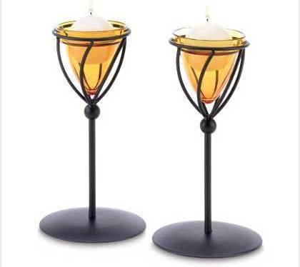 Amber Candleholders Metal W Glass Set Of Two