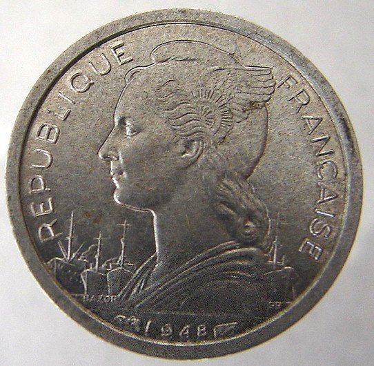1948 FRANCE REUNION ISLANDS Reunion French 1 Franc Winged Liberty coin