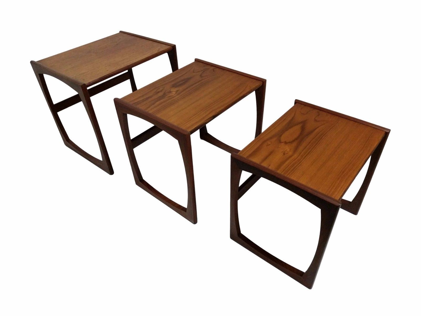 Teak Mid Century Modern Nest of 3 Interlocking Tables, MCM