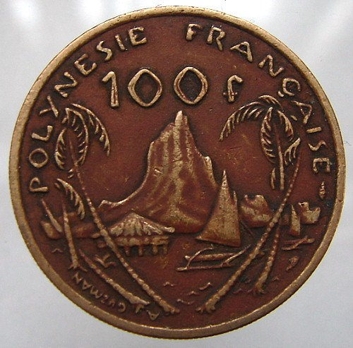1976 FRENCH POLYNESIA COIN over 35 Years Old French Polynesia 100 franks Nickel
