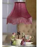 High Tea Figurine Table Lamp Cranberry Fabric Shade - $23.95