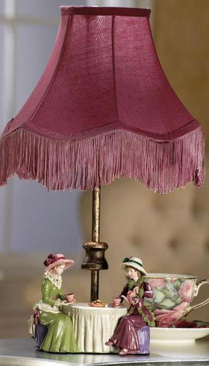 High Tea Figurine Table Lamp Cranberry Fabric Shade