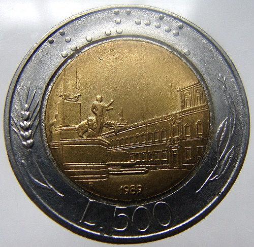 ITALY 23 Years Old 1989 Italian 500 Lire Winged head Bi Metallic COIN