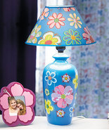 Handpainted Blue Floral Table Lamp Kids - $23.95