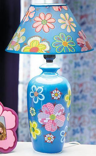 Handpainted Blue Floral Table Lamp Kids