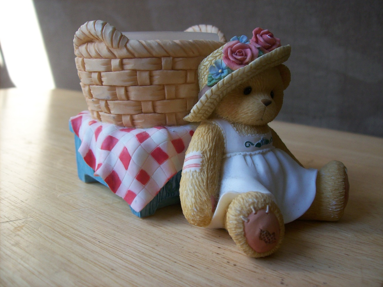 Primary image for Cherished Teddies Girl w/Picnic Basket Votive Candle Holder Figurine