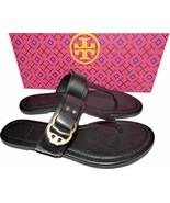Tory Burch Marsden Flat Thongs Sandals Black Leather Shoe Flip Flops 7.5 - $149.00