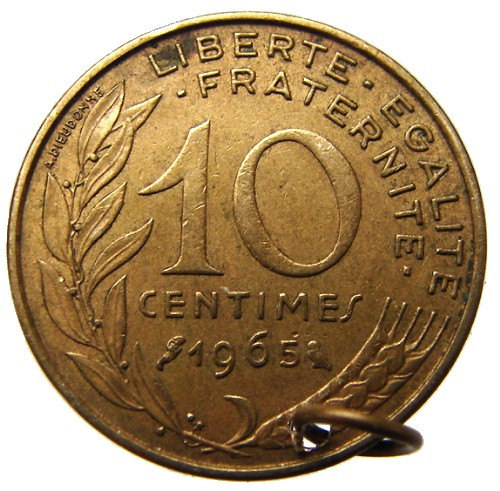 FRANCE LIBERTY CHARM Vintage 1965 Bronze Ten Centimes Coin