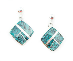 Navajo Sterling Silver Turquoise Inlay Post Dangle Earrings - $122.76