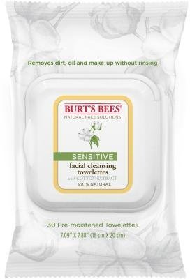 Burt's Bees Sensitive Facial Cleansing Towelettes with Cotton Extract, 30 Count