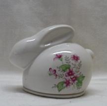 Vintage Cottage Chic Rabbit With Floral Design Trinket Box // Porcelain ... - $12.25