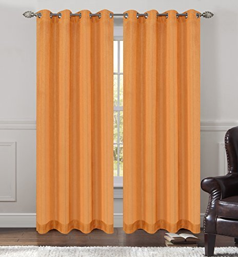 Urbanest 54-inch by 63-inch Tweed Set of 2 Sheer Drapery Curtain Panels with Gro