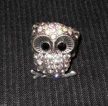 Figural OWL Stretch Ring Fashion Jewelry Aurora Borealis Rhinestone Encr... - $19.76