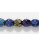 6mm Czech Fire Polish, Metallic Blue Iris Glass Beads, 50 - $2.25