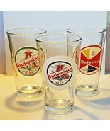 Lot of 3 Budweiser Beer Retro Pounder Style Glasses Anheuser Busch 5 7/8... - $29.53