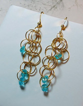 Blue Gold Earrings/ Aqua/ Turquoise/ Blue/ Cluster Earrings/ Tri-Dangle ... - $14.00
