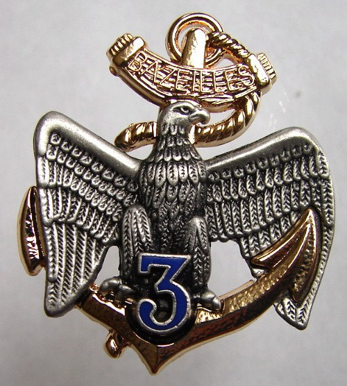 FRANCE MILITARY BROOCH 3rd Marine Infantry Regiment Enamel Badge Brooch Pin