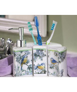 3 Pc Bird Mural Porcelain Bathroom Accessory Set - $19.75