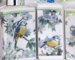 3 Pc Bird Mural Porcelain Bathroom Accessory Set