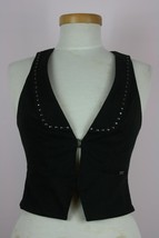 Guess Los Angeles Jeans Stretch Black Studded Razor Back Vest Sz Small - $10.22