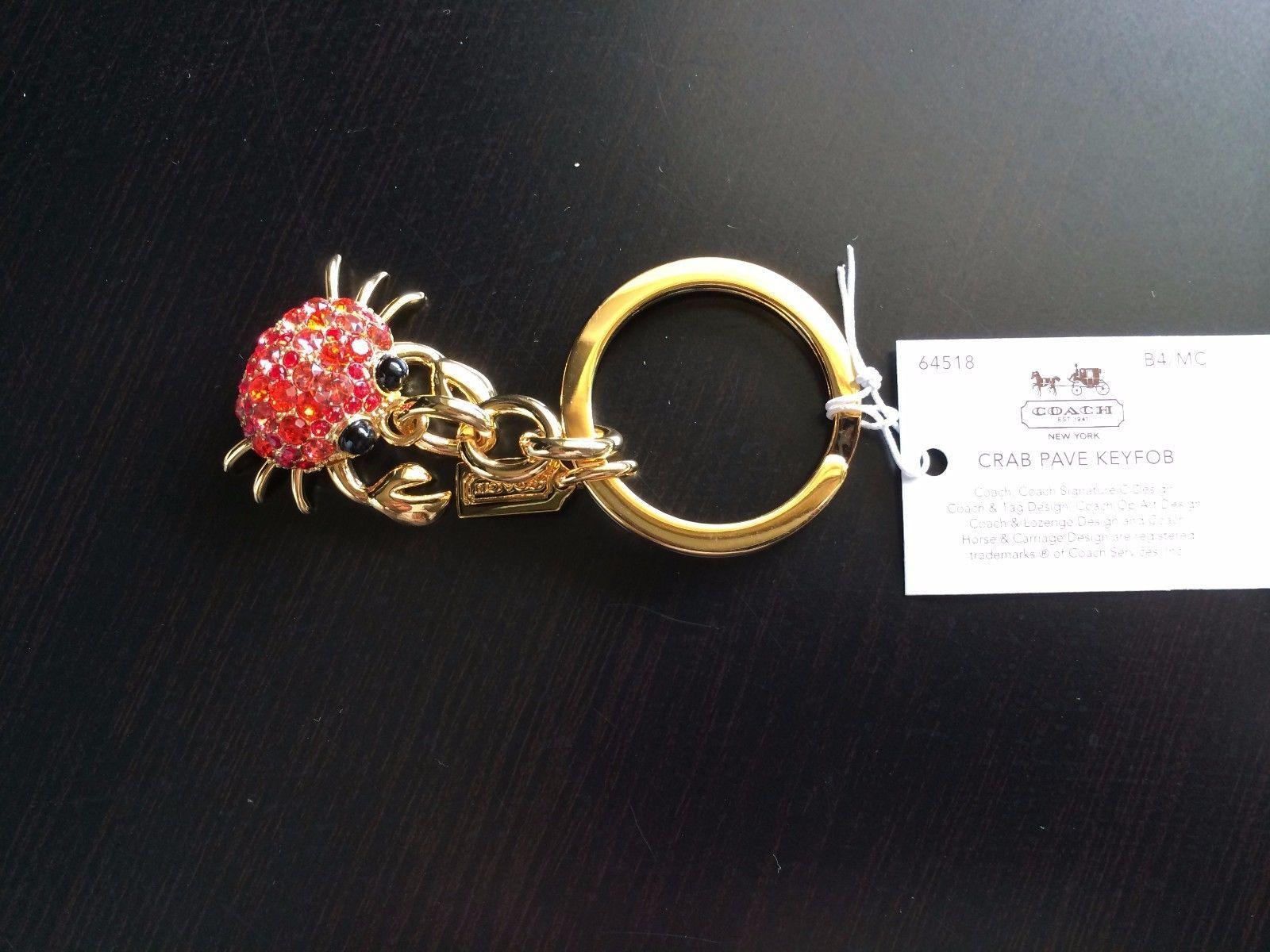 NWT Coach Red Swarovski Crystals Rhinestone Crab Key Fob Keychain Charm 64518