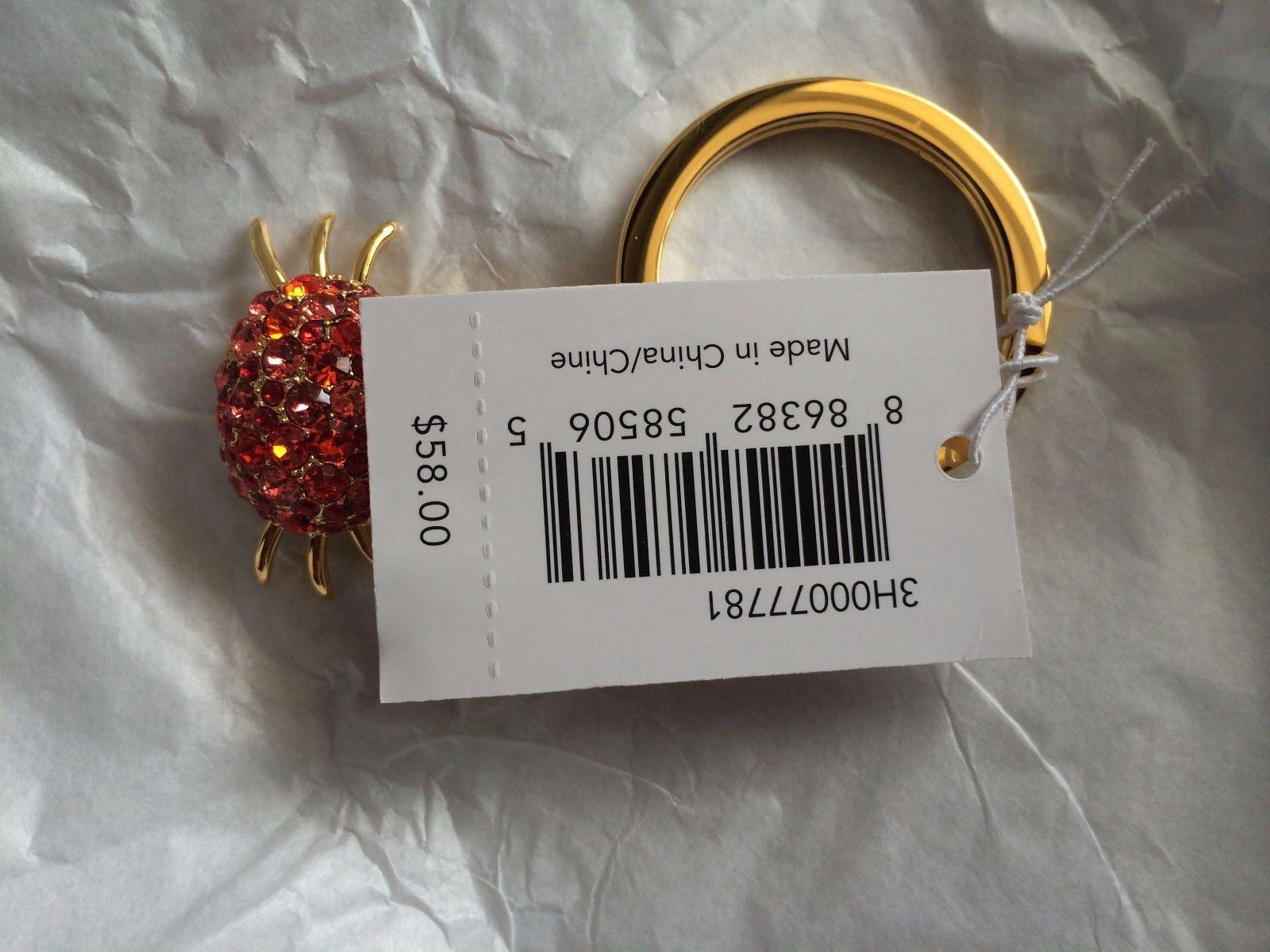 NWT Coach Red Swarovski Crystals Rhinestone Crab Key Fob Keychain Charm 64518 image 3