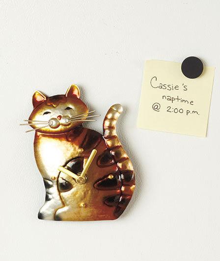 "Magnetic Cat Kitchen Clock 6"""
