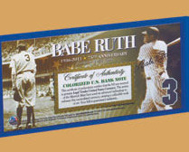 Babe Ruth American Legends $2 Bill  Uncirculated