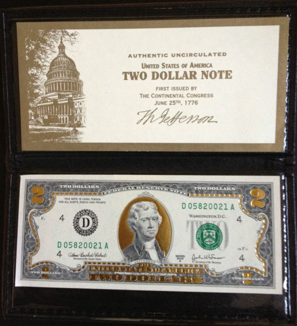 22K Gold Plated $2 Bill  Uncirculated