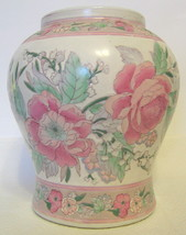Medium Floral Chinese Vase Hand Painted Ceramic - $49.00