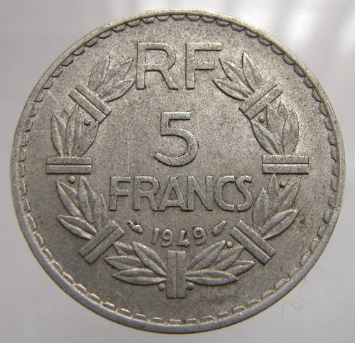 FRANCE MARIANNE COIN Vintage Over 60 Years Old Marianne 1949 5 Francs Aluminum C