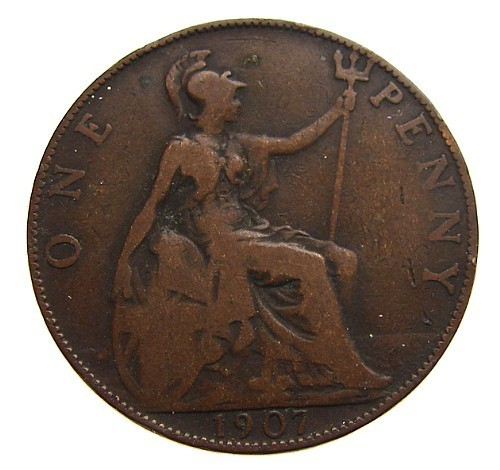 1907 BRITISH ANTIQUE Over 100 Years Old  Edward VII One Penny large Bronze Coin