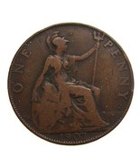 1907 BRITISH ANTIQUE Over 100 Years Old  Edward VII One Penny large Bron... - $6.62 CAD