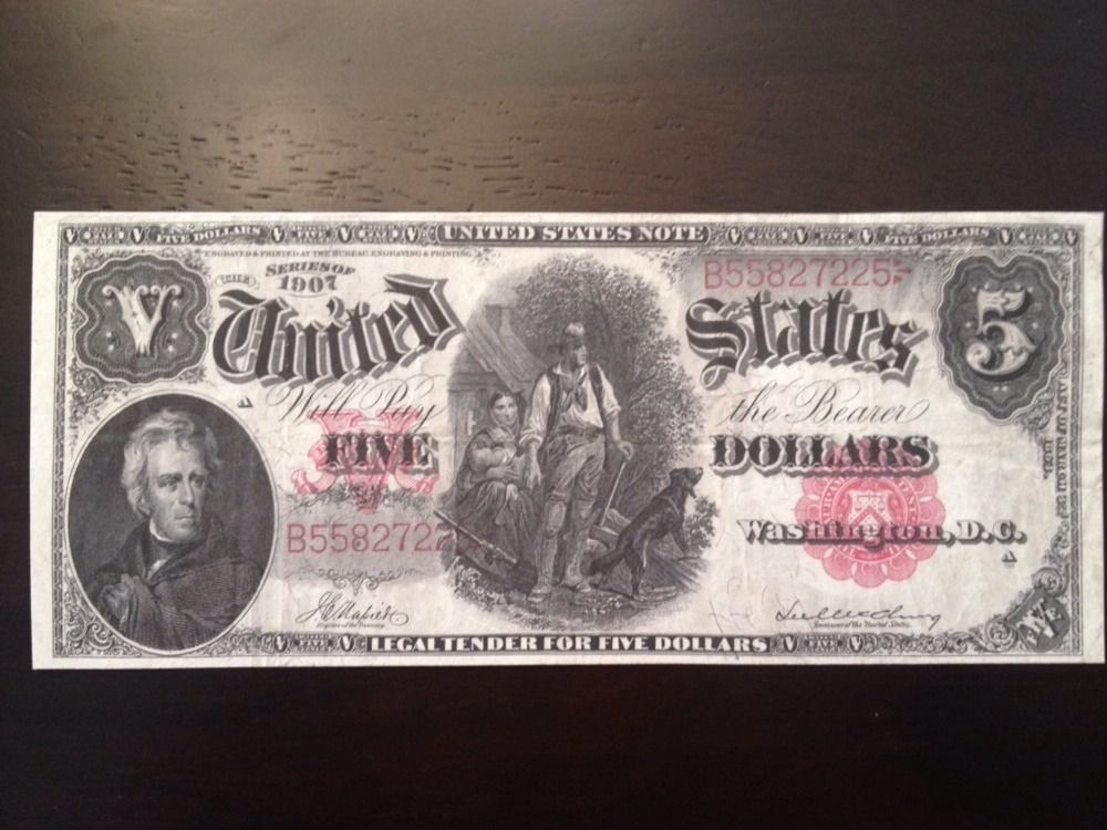 Reproduction 1902 $5 Bill Taylorville Illinois National Bank Note Five Harrison
