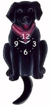 Pink Cloud Black Labrador Dog Swinging Pendulum Wall Clock - $41.99