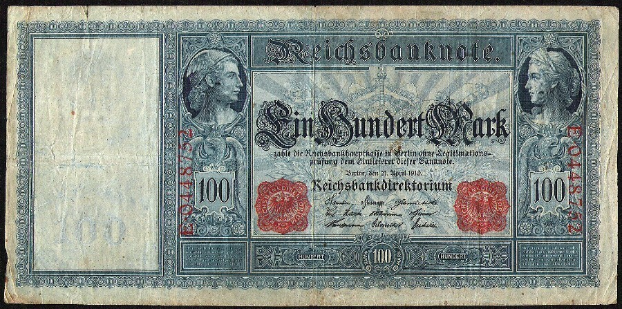 ANTIQUE over 100 years old 1910 GERMAN Berlin 100 Mark Red Serial Reich Banknote