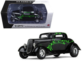 1934 Ford Coupe Street Rod Black with Lime Green 1/25 Diecast Model Car by First - $72.79