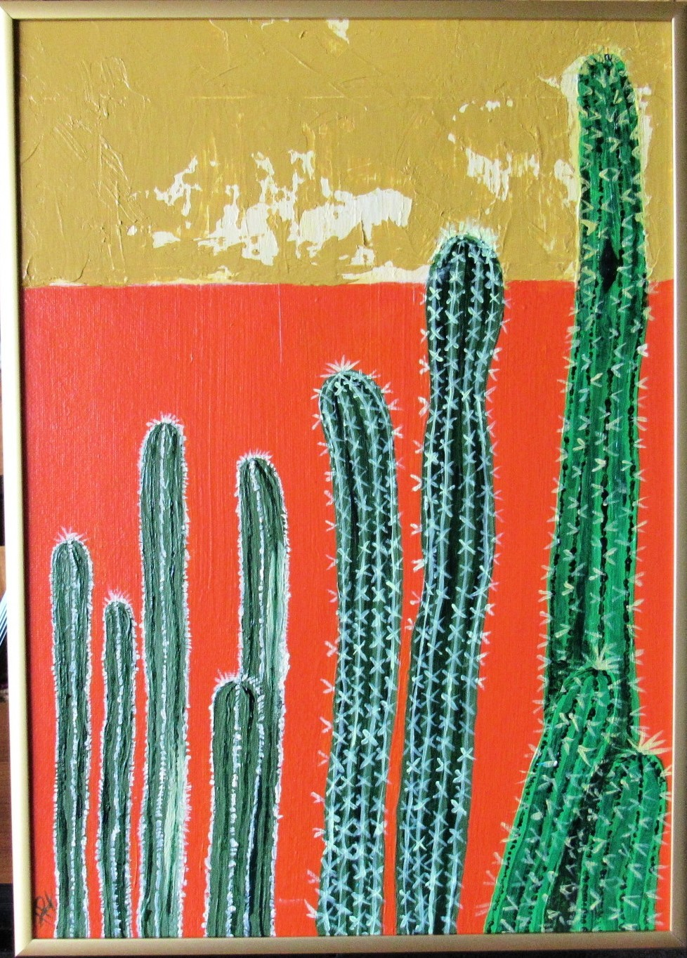 Cactus in the Sun Original Acrylic canvas Board with Gold Metal frame Signed