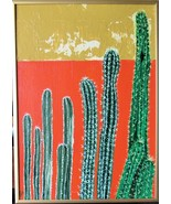 Cactus in the Sun Original Acrylic canvas Board with Gold Metal frame Si... - $56.00